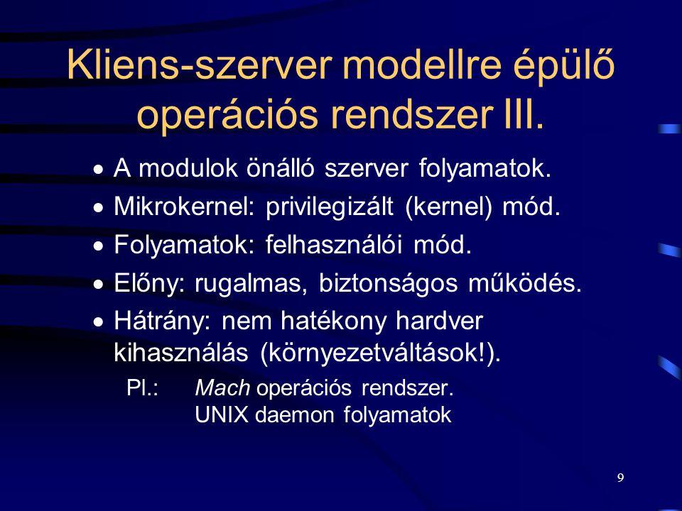 30 Rendszer processzek (rendszer folyamatok) Operációs rendszer-funkciókat megvalósító önálló folyamatok:  ugyan felhasználói módban futnak, de  nélkülözhetetlen részei a rendszernek.