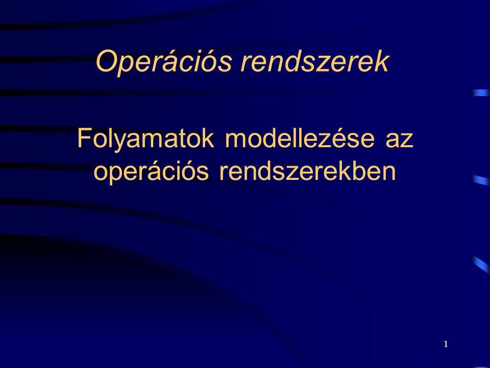 1 Folyamatok modellezése az operációs rendszerekben Operációs rendszerek