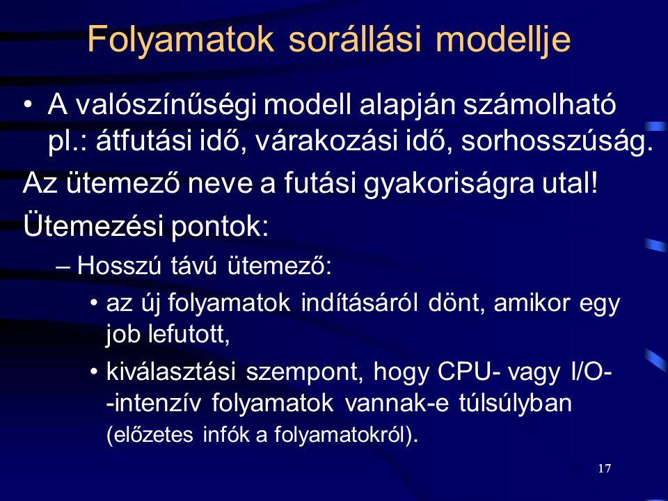 17 Folyamatok sorállási modellje A valószínűségi modell alapján számolható pl.: átfutási idő, várakozási idő, sorhosszúság.