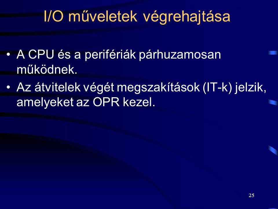 25 I/O műveletek végrehajtása A CPU és a perifériák párhuzamosan működnek.