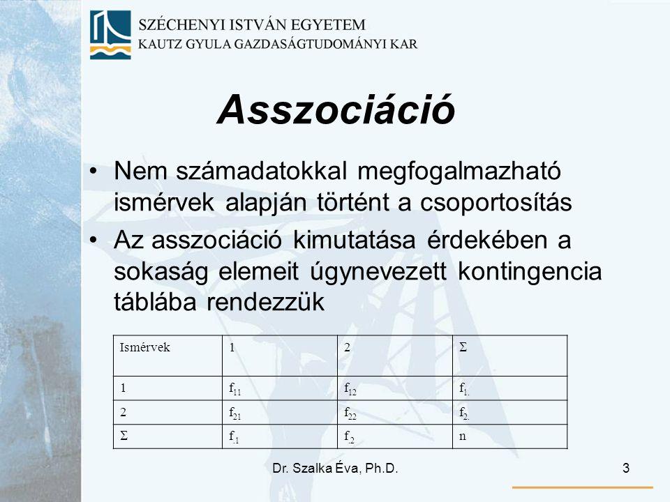 Dr. Szalka Éva, Ph.D.3 Asszociáció Nem számadatokkal megfogalmazható ismérvek alapján történt a csoportosítás Az asszociáció kimutatása érdekében a so