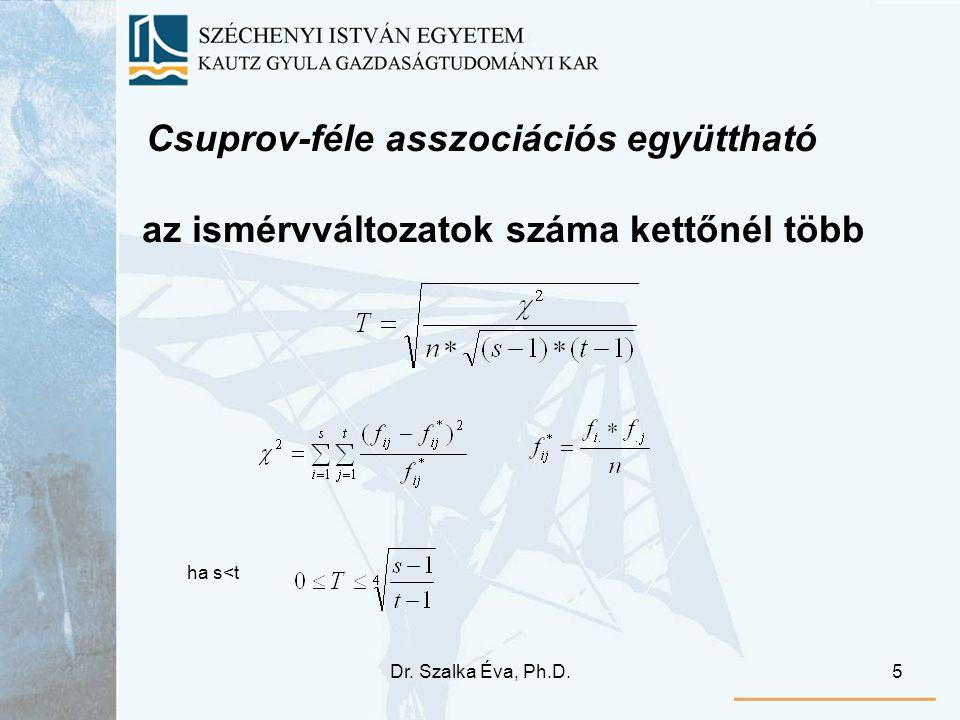 Dr. Szalka Éva, Ph.D.5 Csuprov-féle asszociációs együttható az ismérvváltozatok száma kettőnél több ha s<t