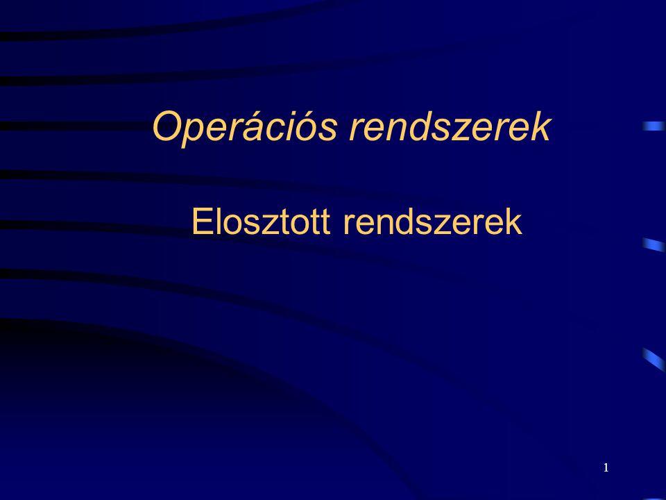 1 Operációs rendszerek Elosztott rendszerek