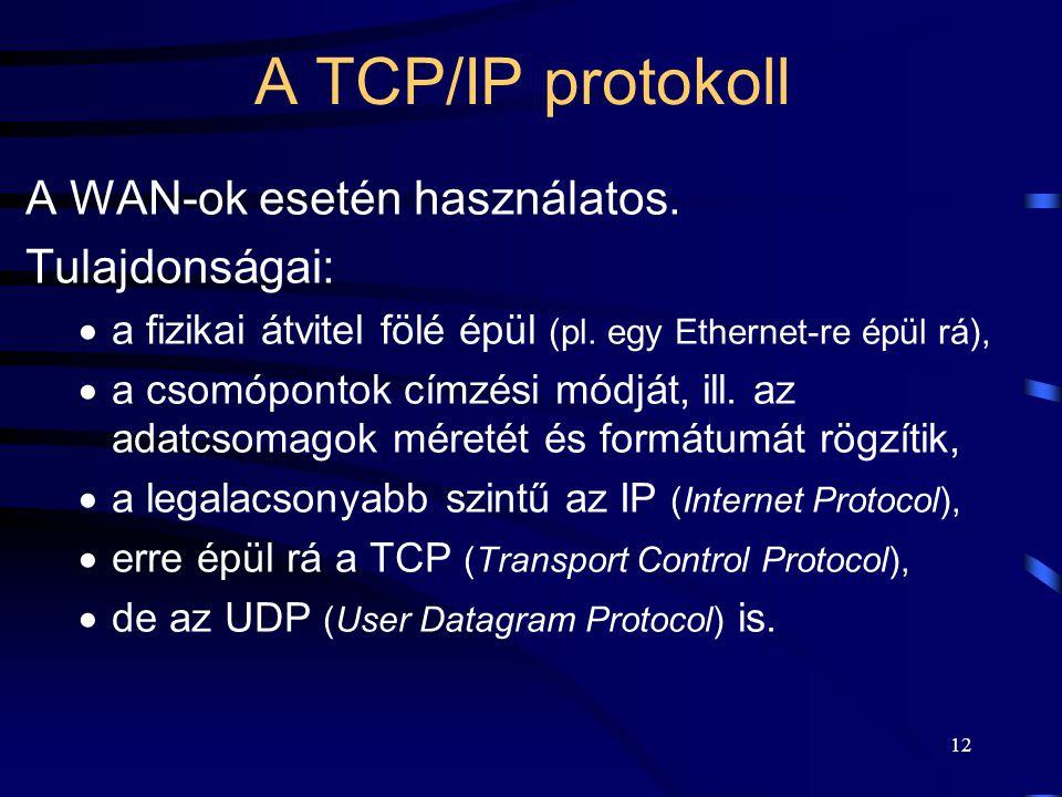 12 A TCP/IP protokoll A WAN-ok esetén használatos.