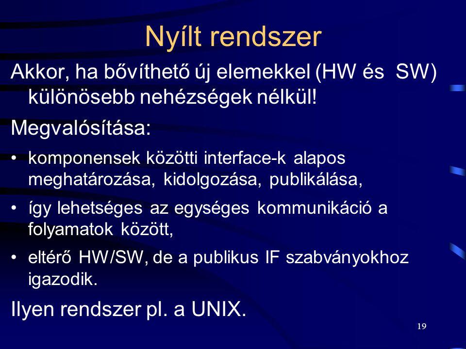 19 Nyílt rendszer Akkor, ha bővíthető új elemekkel (HW és SW) különösebb nehézségek nélkül.