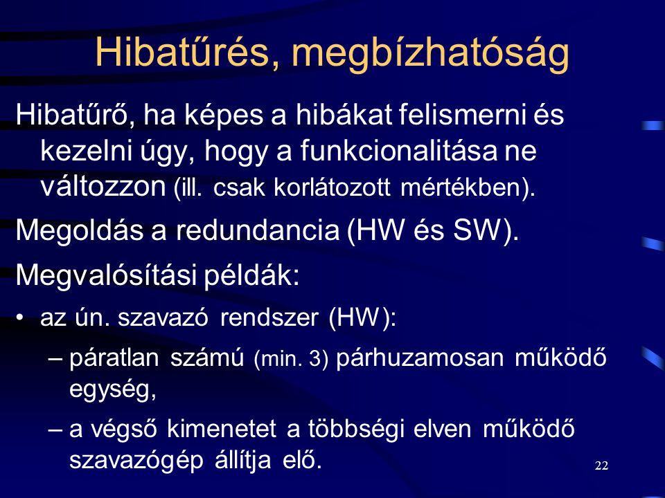 22 Hibatűrés, megbízhatóság Hibatűrő, ha képes a hibákat felismerni és kezelni úgy, hogy a funkcionalitása ne változzon (ill.
