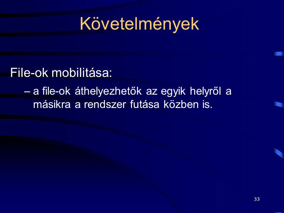 33 Követelmények File-ok mobilitása: –a file-ok áthelyezhetők az egyik helyről a másikra a rendszer futása közben is.