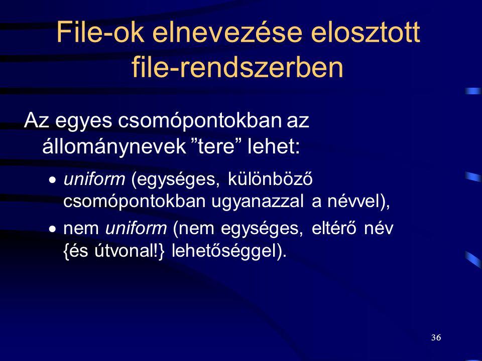 36 File-ok elnevezése elosztott file-rendszerben Az egyes csomópontokban az állománynevek tere lehet:  uniform (egységes, különböző csomópontokban ugyanazzal a névvel),  nem uniform (nem egységes, eltérő név {és útvonal!} lehetőséggel).