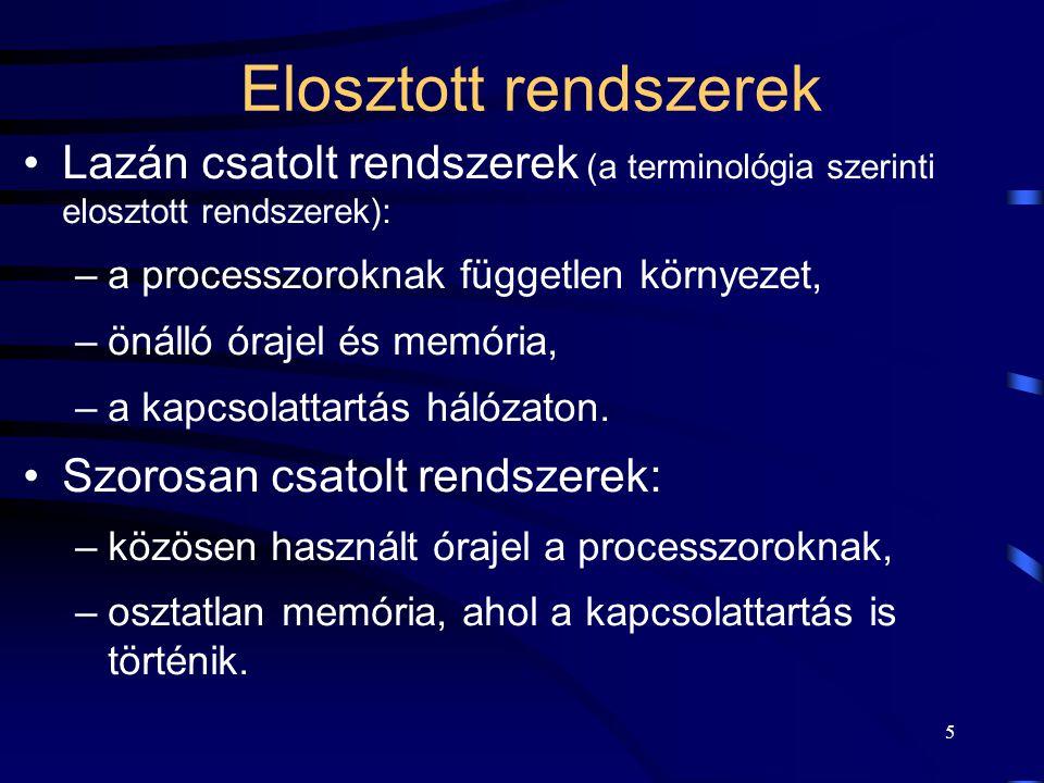 5 Elosztott rendszerek Lazán csatolt rendszerek (a terminológia szerinti elosztott rendszerek): –a processzoroknak független környezet, –önálló órajel és memória, –a kapcsolattartás hálózaton.
