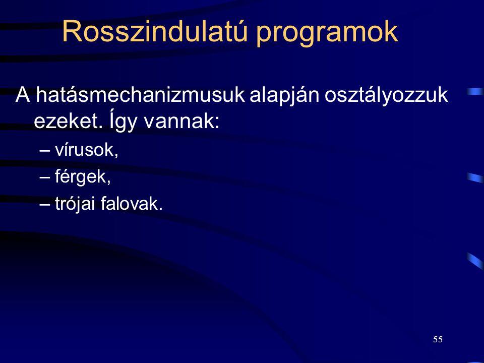 55 Rosszindulatú programok A hatásmechanizmusuk alapján osztályozzuk ezeket.