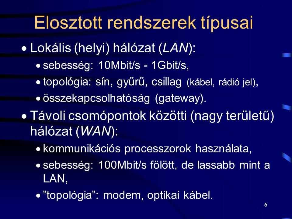 6 Elosztott rendszerek típusai  Lokális (helyi) hálózat (LAN):  sebesség: 10Mbit/s - 1Gbit/s,  topológia: sín, gyűrű, csillag (kábel, rádió jel),  összekapcsolhatóság (gateway).