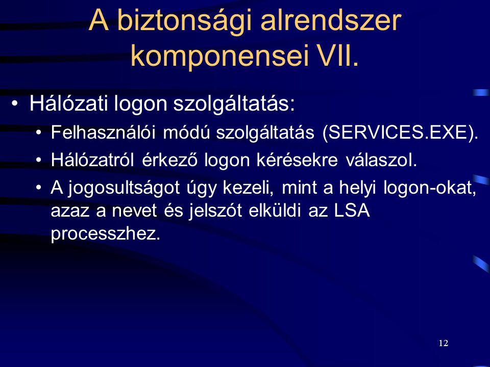 12 Hálózati logon szolgáltatás: Felhasználói módú szolgáltatás (SERVICES.EXE). Hálózatról érkező logon kérésekre válaszol. A jogosultságot úgy kezeli,