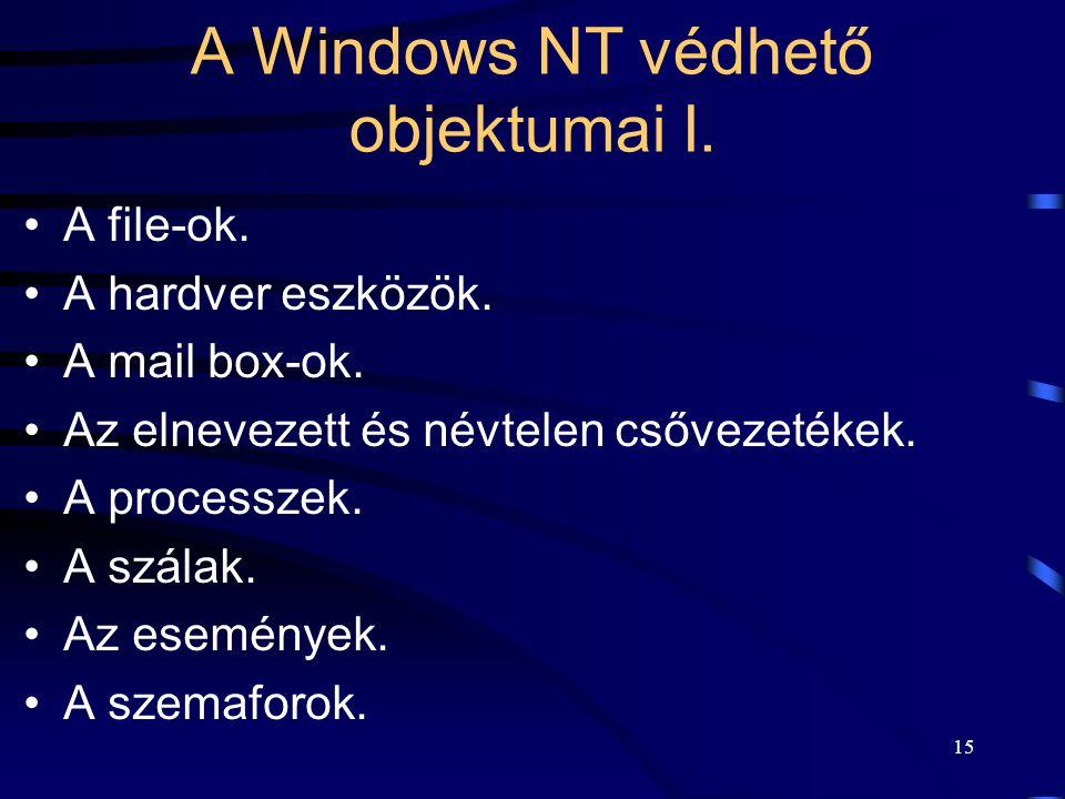 15 A Windows NT védhető objektumai I. A file-ok. A hardver eszközök. A mail box-ok. Az elnevezett és névtelen csővezetékek. A processzek. A szálak. Az