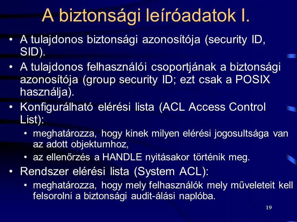 19 A biztonsági leíróadatok I. A tulajdonos biztonsági azonosítója (security ID, SID). A tulajdonos felhasználói csoportjának a biztonsági azonosítója