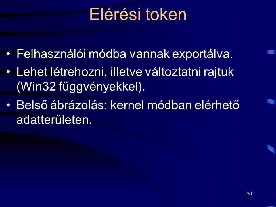 21 Elérési token Felhasználói módba vannak exportálva. Lehet létrehozni, illetve változtatni rajtuk (Win32 függvényekkel). Belső ábrázolás: kernel mód