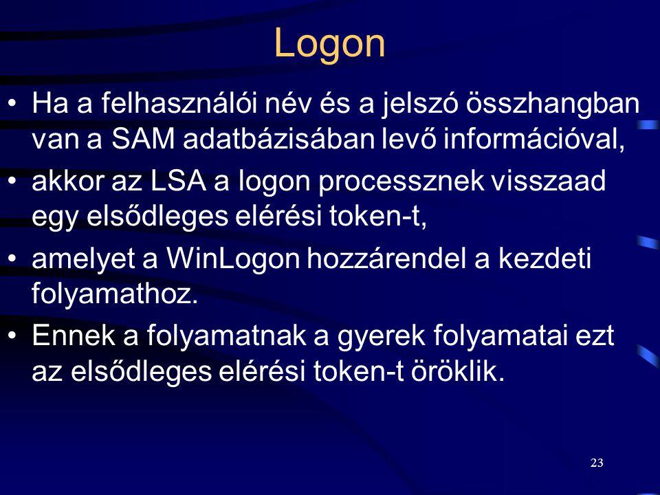 23 Logon Ha a felhasználói név és a jelszó összhangban van a SAM adatbázisában levő információval, akkor az LSA a logon processznek visszaad egy elsődleges elérési token-t, amelyet a WinLogon hozzárendel a kezdeti folyamathoz.
