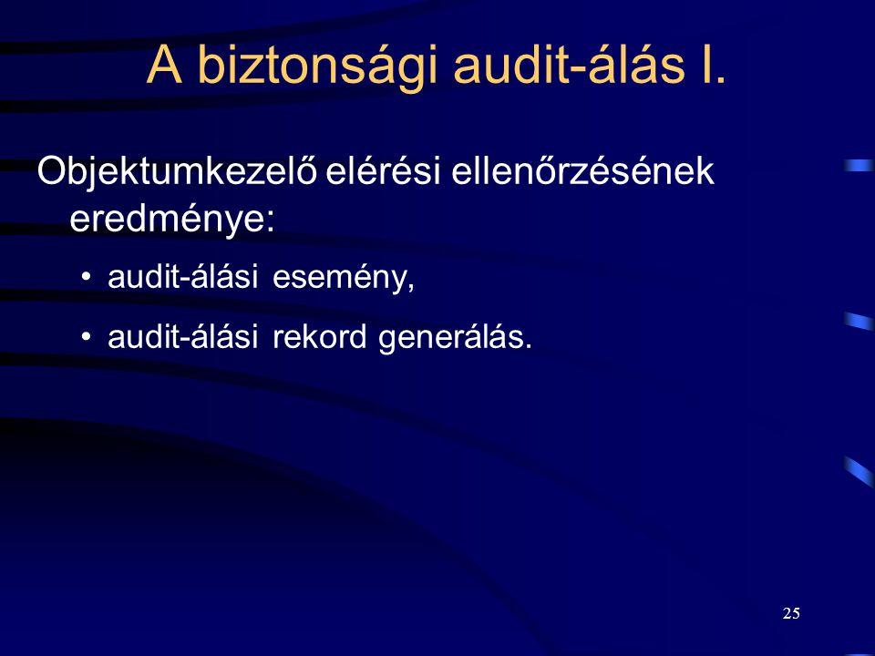 25 A biztonsági audit-álás I. Objektumkezelő elérési ellenőrzésének eredménye: audit-álási esemény, audit-álási rekord generálás.