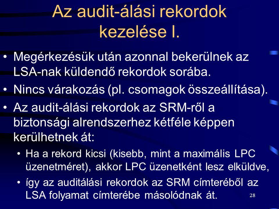 28 Az audit-álási rekordok kezelése I. Megérkezésük után azonnal bekerülnek az LSA-nak küldendő rekordok sorába. Nincs várakozás (pl. csomagok összeál