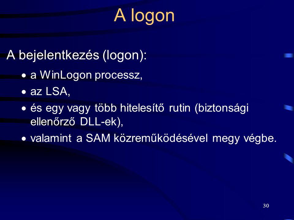 30 A logon A bejelentkezés (logon):  a WinLogon processz,  az LSA,  és egy vagy több hitelesítő rutin (biztonsági ellenőrző DLL-ek),  valamint a S