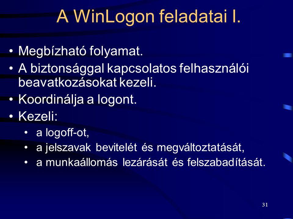 31 A WinLogon feladatai I. Megbízható folyamat. A biztonsággal kapcsolatos felhasználói beavatkozásokat kezeli. Koordinálja a logont. Kezeli: a logoff