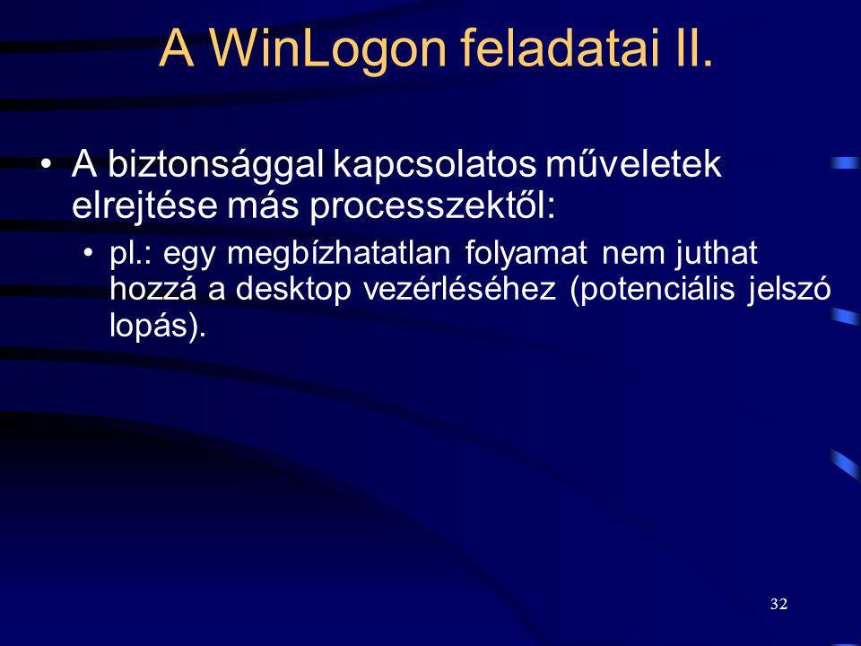 32 A biztonsággal kapcsolatos műveletek elrejtése más processzektől: pl.: egy megbízhatatlan folyamat nem juthat hozzá a desktop vezérléséhez (potenciális jelszó lopás).