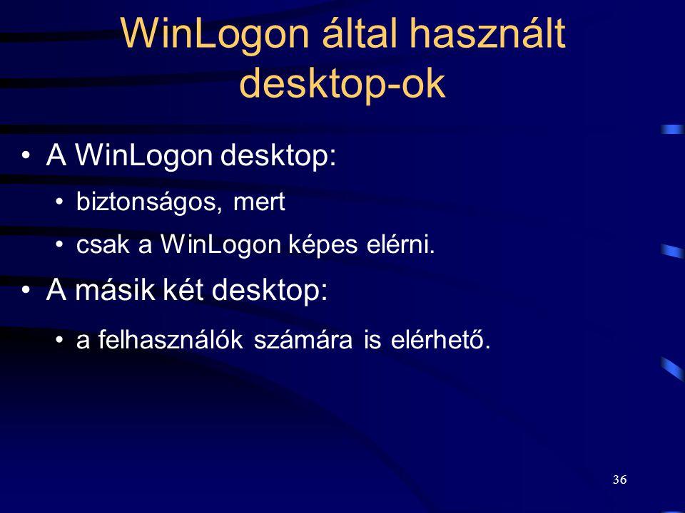 36 WinLogon által használt desktop-ok A WinLogon desktop: biztonságos, mert csak a WinLogon képes elérni. A másik két desktop: a felhasználók számára