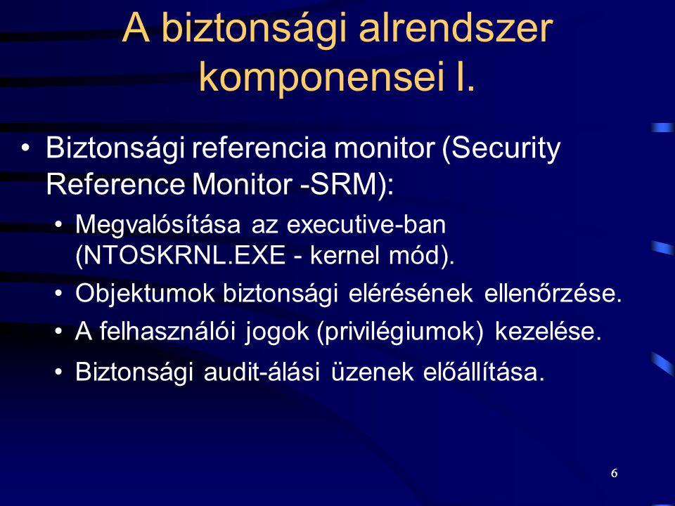 6 A biztonsági alrendszer komponensei I. Biztonsági referencia monitor (Security Reference Monitor -SRM): Megvalósítása az executive-ban (NTOSKRNL.EXE