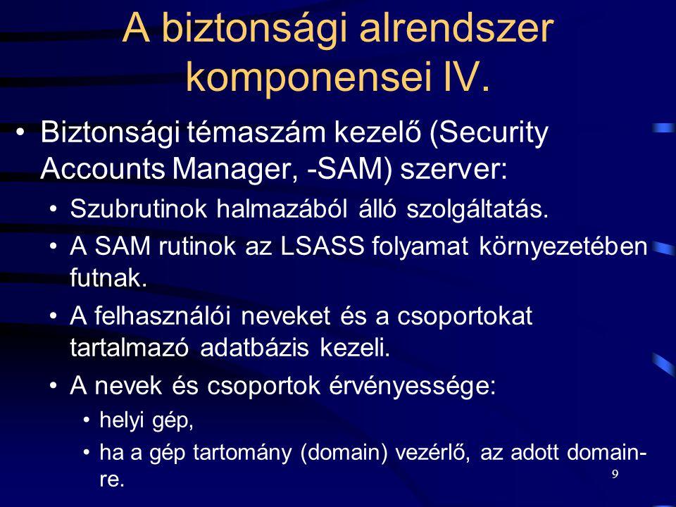 9 Biztonsági témaszám kezelő (Security Accounts Manager, -SAM) szerver: Szubrutinok halmazából álló szolgáltatás. A SAM rutinok az LSASS folyamat körn