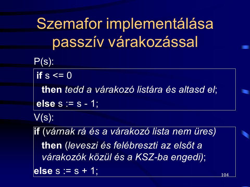 103 Előidejűség Utasítás1 megelőzi Utasítás2-t: init(s,0); 1. folyamat: Utasítás1; V(s); 2. folyamat: P(s); Utasítás2;