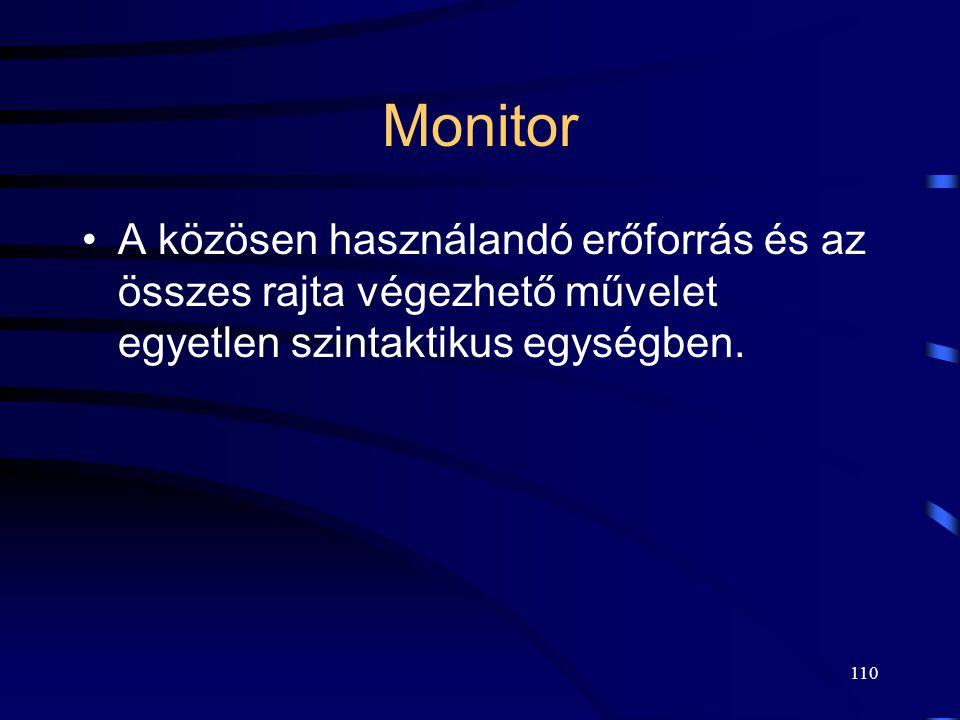 109 Monitor A folyamatok bármikor hívhatják a monitorban levő eljárásokat, de a monitor belső adatszerkezetét közvetlenül nem érhetik el. Minden időpi