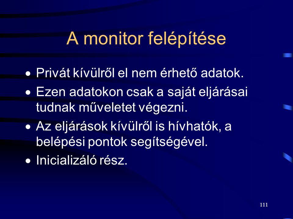 110 Monitor A közösen használandó erőforrás és az összes rajta végezhető művelet egyetlen szintaktikus egységben.