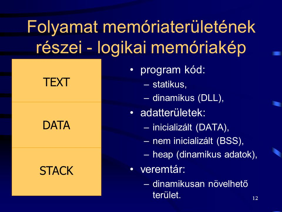 """11 Folyamatok memóriakezelése Minden folyamat futása során úgy """"tapasztalja"""", mintha egyedül használná a számítógépet: –memóriát, –eszközöket (perifér"""