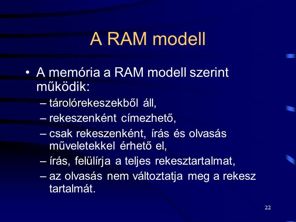21 Közös tárterületen történő kommunikáció Osztott elérésű memória C folyamatB folyamat A folyamat Operációs rendszer Kommunikációs alrendszer read wr