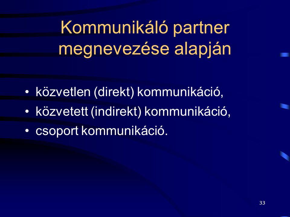 32 Kommunikáció típusai  Partner megnevezés alapján:  a partner megnevezésére vonatkozó kérdések.  Műveletek szemantikája (jelentése) alapján  mi