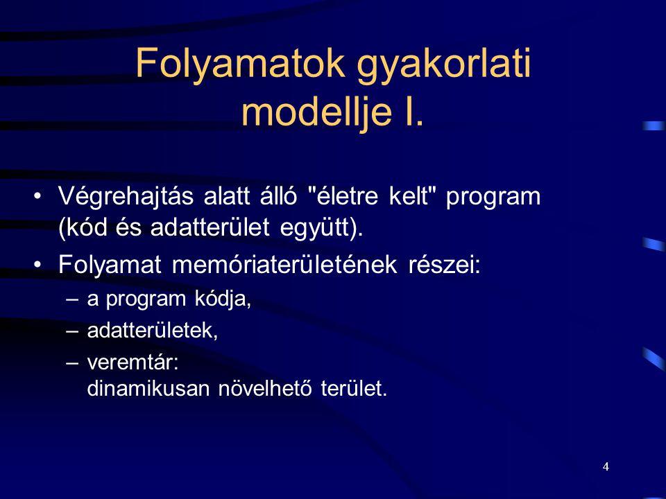 3 Folyamatok logikai modellje Végrehajtó gép: –processzor, –memória (folytonos). Oszthatatlan utasítások: –a fizikai processzor utasításainak egy rész