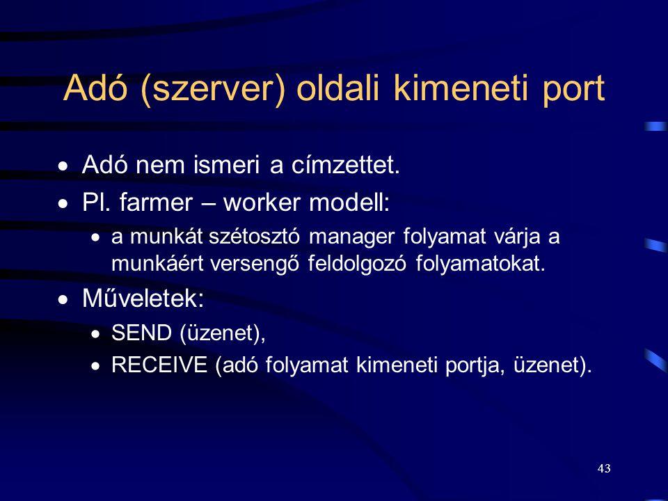 42 Adó oldali kimeneti port Kommunikációs közeg (operációs rendszer) send(üzenet)receive(P, üzenet) Farmer (szerver) üzenet Worker (kliens) üzenet P: