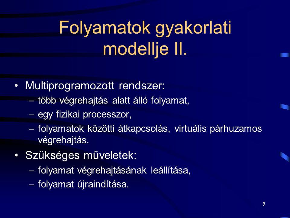 4 Folyamatok gyakorlati modellje I. Végrehajtás alatt álló