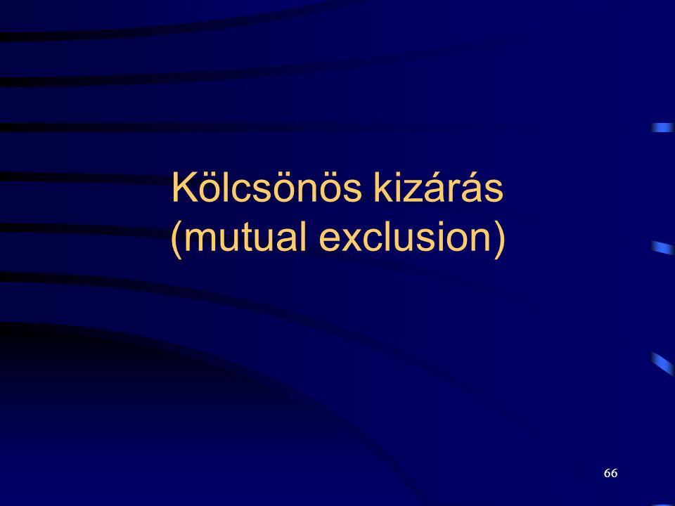 65 Kölcsönös kizárás (mutual exclusion) A folyamatokban lehetnek olyan utasítássorozatok (kritikus szakasz), amelyek végrehajtása egyidejűleg nem mege