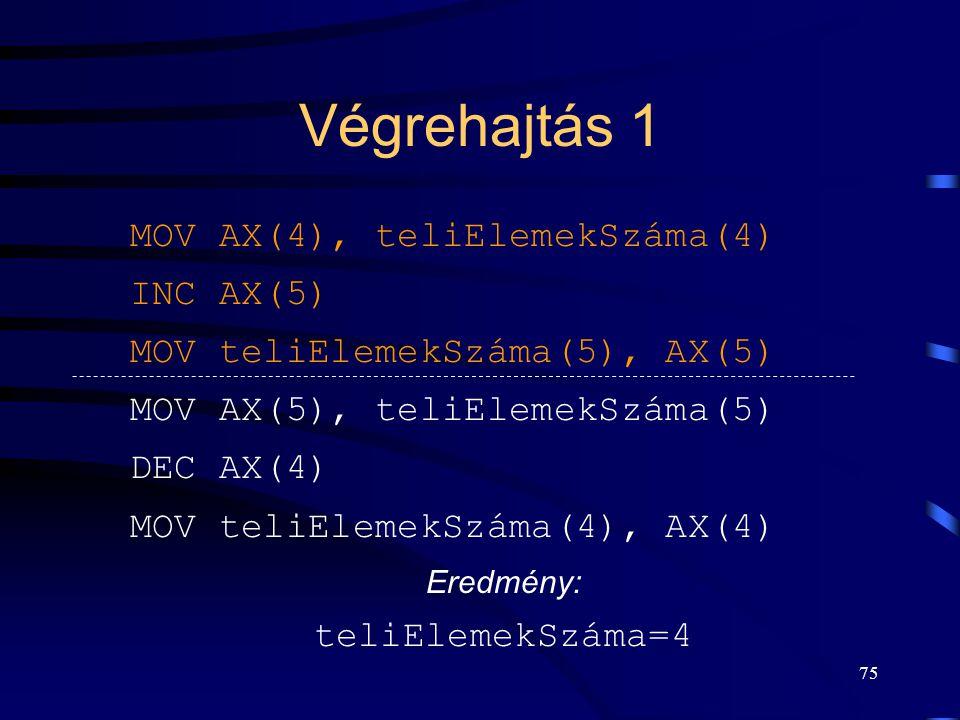 74 Inkrementálás-dekrementálás Inkrementálás MOV AX, INC AX MOV, AX Dekrementálás MOV AX, DEC AX MOV, AX