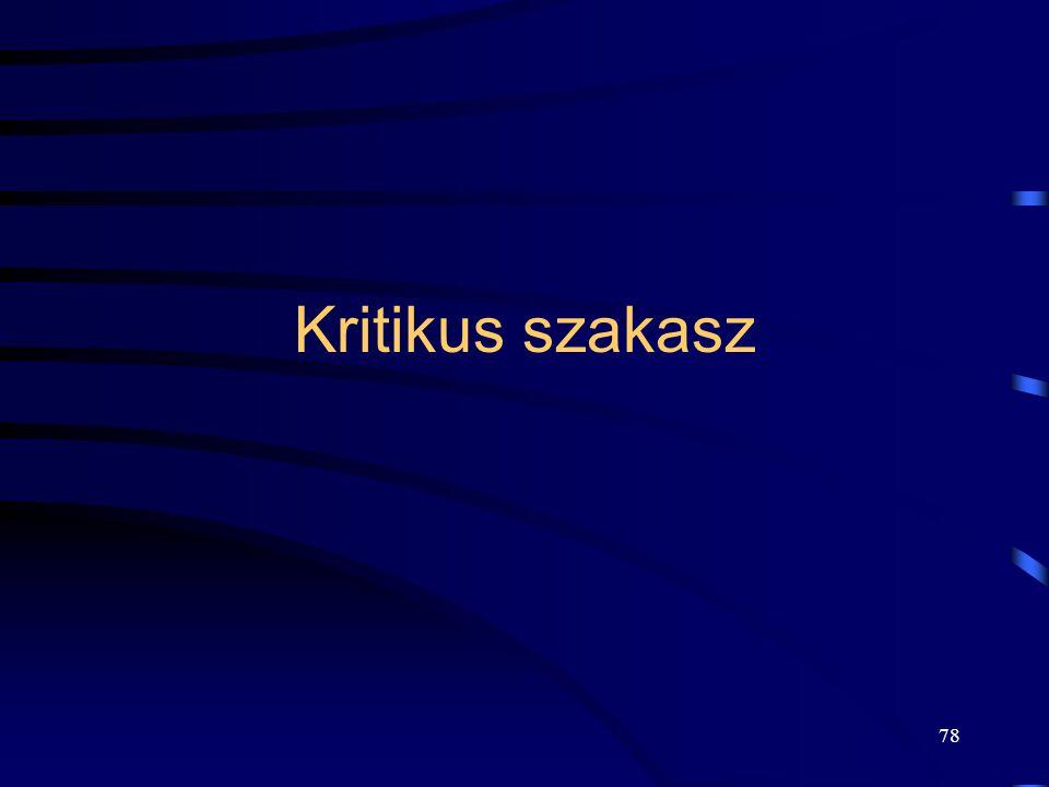 77 Végrehajtás 3 MOV AX(4), teliElemekSzáma(4) INC AX(5) MOV AX(4), teliElemekSzáma(4) DEC AX(3) MOV teliElemekSzáma(5), AX(5) MOV teliElemekSzáma(3),