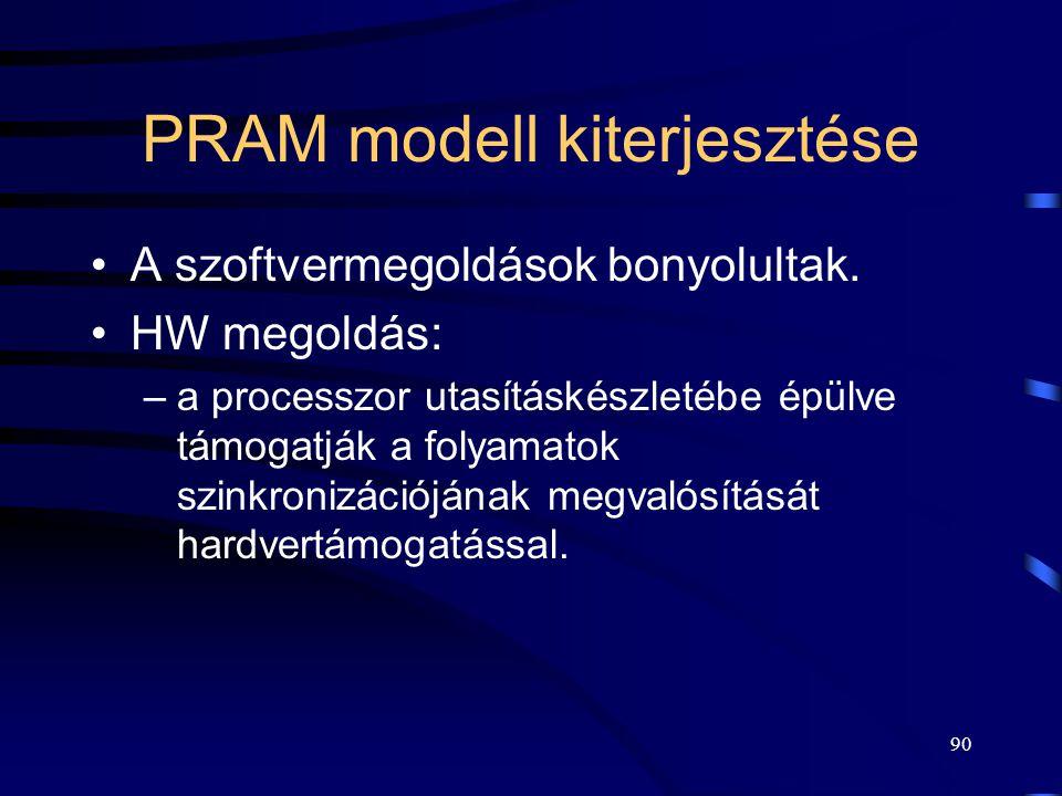 89 Programozott KSZ megvalósítás tulajdonságai Két folyamat esetén alkalmazható. Mind a három kritikus szakaszra vonatkozó feltételt teljesíti. Tetsző