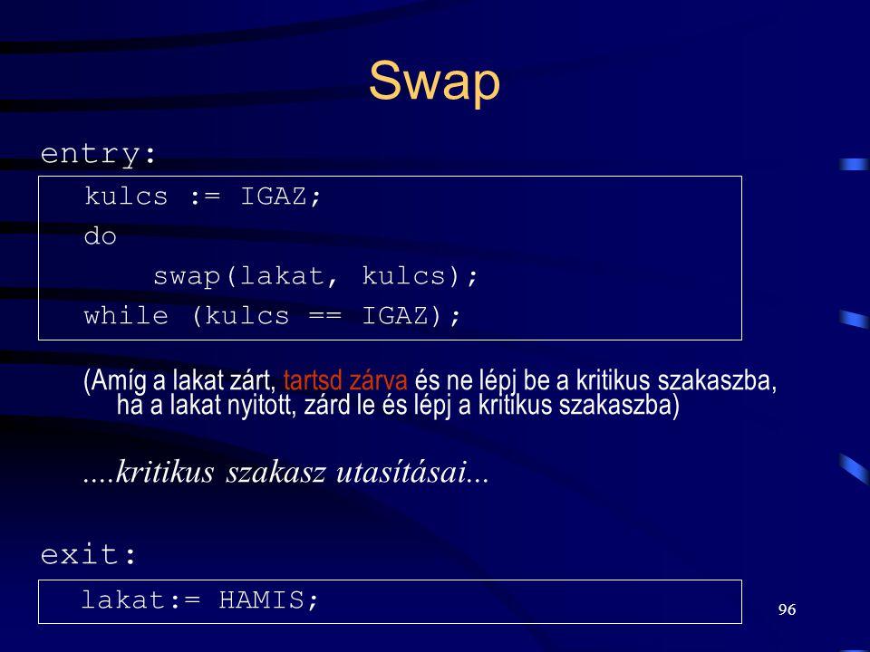 95 Swap A közös memória egy rekeszének és a folyamat saját memóriája egy rekeszének tartalmát cseréli fel oszthatatlan művelettel. swap(lakat, kulcs)