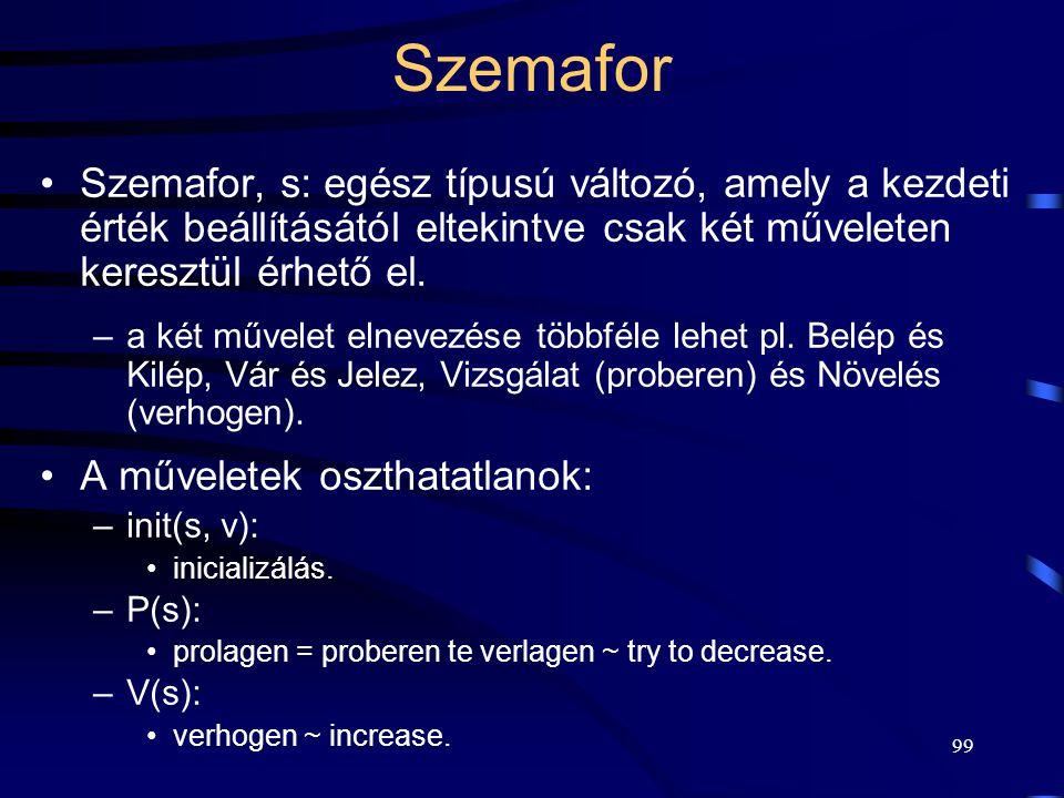 98 Szemafor E. W. Dijkstra definiálta az 1960-as évek végén: –egy vasúti példa alapján: 1 vágányos sínszakasz védelme. A szinkronizációs problémák meg