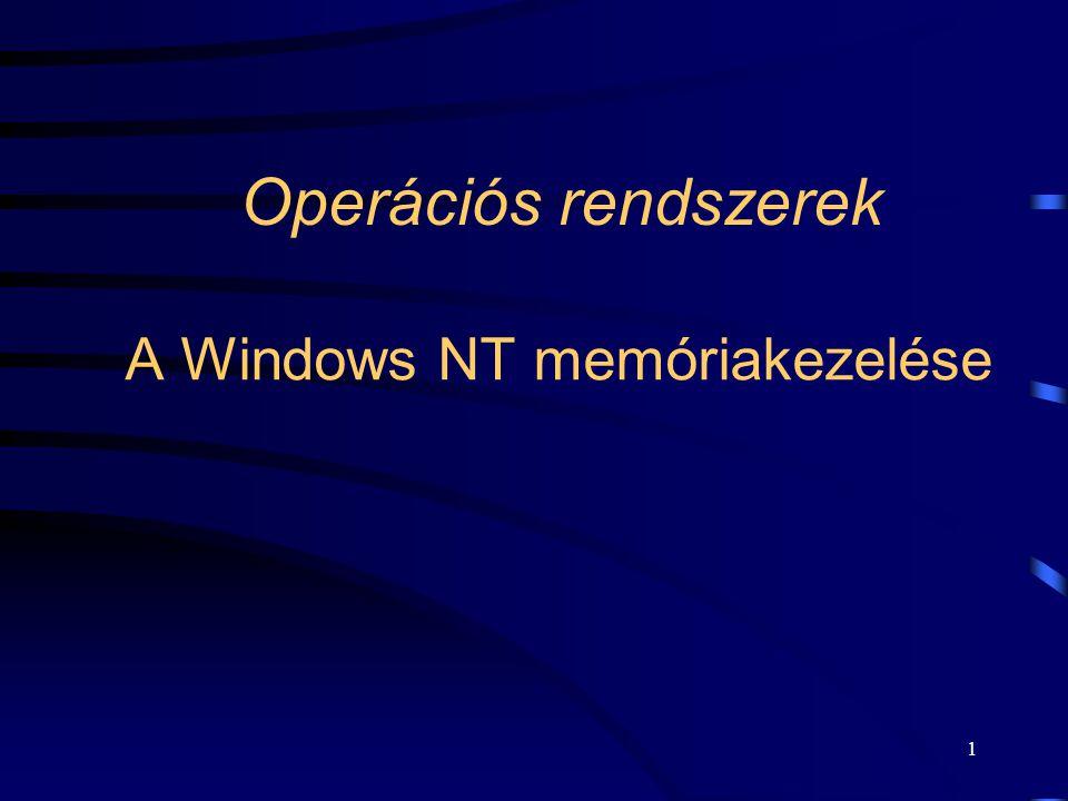 1 Operációs rendszerek A Windows NT memóriakezelése