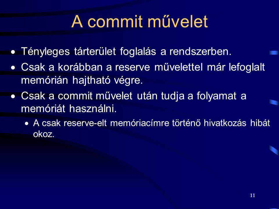 11 A commit művelet  Tényleges tárterület foglalás a rendszerben.  Csak a korábban a reserve művelettel már lefoglalt memórián hajtható végre.  Csa