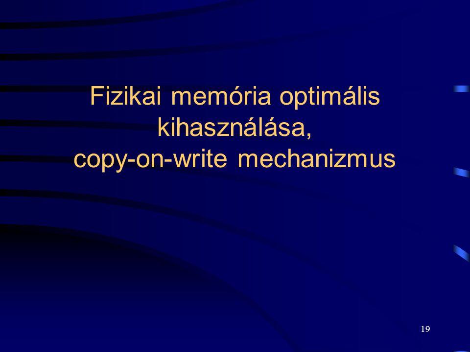 19 Fizikai memória optimális kihasználása, copy-on-write mechanizmus