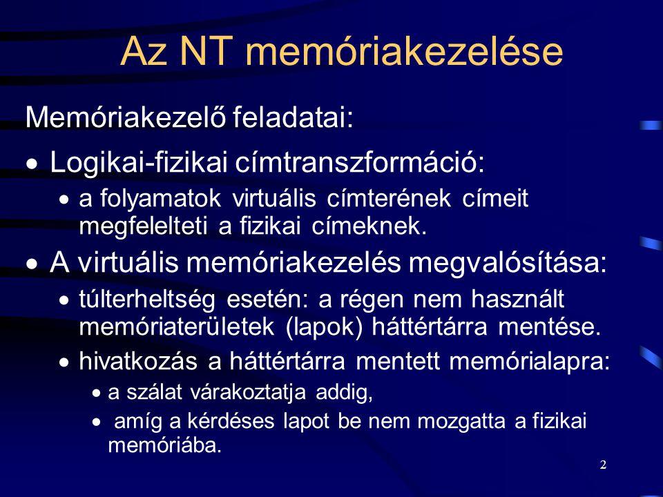 2 Az NT memóriakezelése Memóriakezelő feladatai:  Logikai-fizikai címtranszformáció:  a folyamatok virtuális címterének címeit megfelelteti a fizika