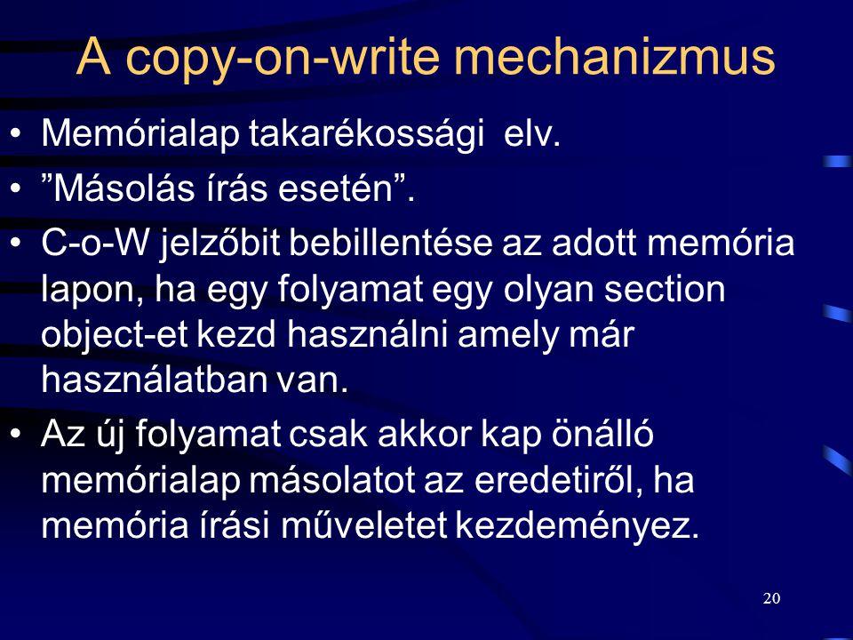 """20 A copy-on-write mechanizmus Memórialap takarékossági elv. """"Másolás írás esetén"""". C-o-W jelzőbit bebillentése az adott memória lapon, ha egy folyama"""