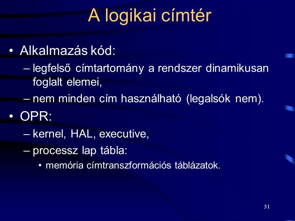 31 A logikai címtér Alkalmazás kód: –legfelső címtartomány a rendszer dinamikusan foglalt elemei, –nem minden cím használható (legalsók nem). OPR: –ke