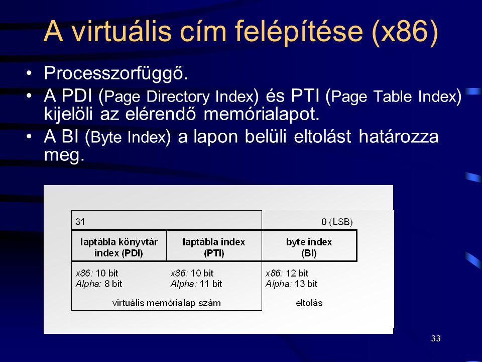 33 A virtuális cím felépítése (x86) Processzorfüggő. A PDI ( Page Directory Index ) és PTI ( Page Table Index ) kijelöli az elérendő memórialapot. A B